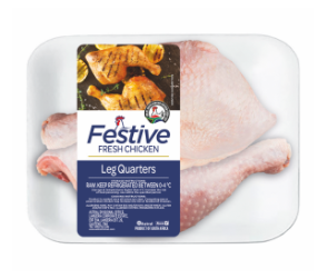 Festive chicken leg quarters