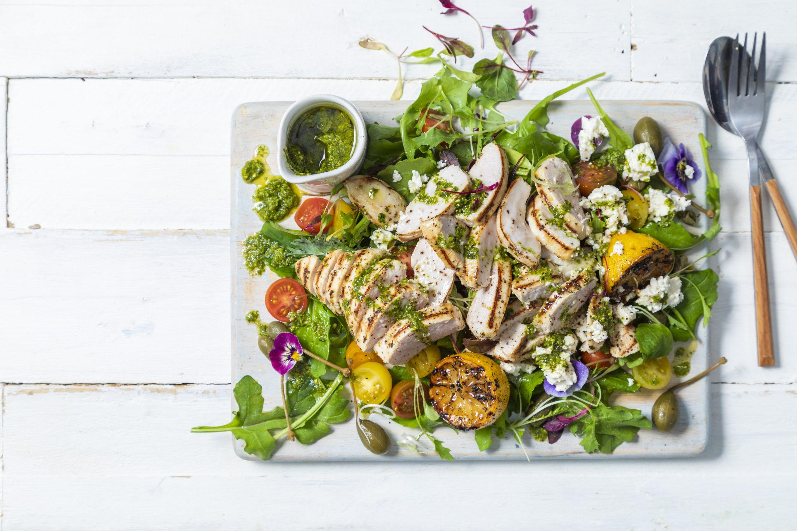lemon-grilled chicken salad